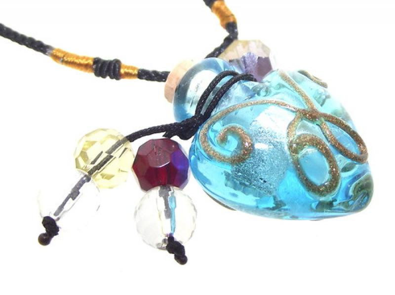 Aqua Glass Bottle Vial Pendant with Beads and Cord